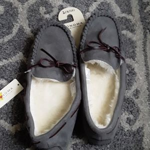 Cozy grey house slippers